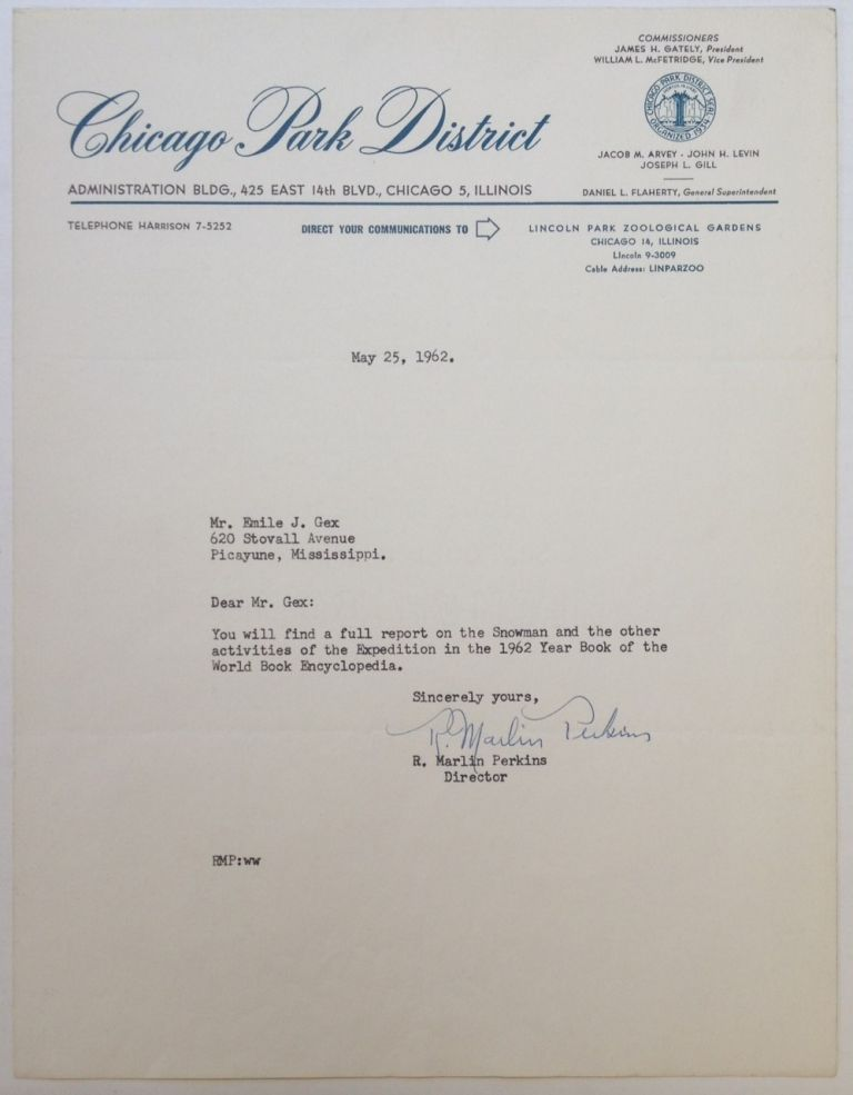 """Typed Letter Signed on """"Chicago Park District"""" letterhead. Marlin PERKINS, 1905 - 1986."""