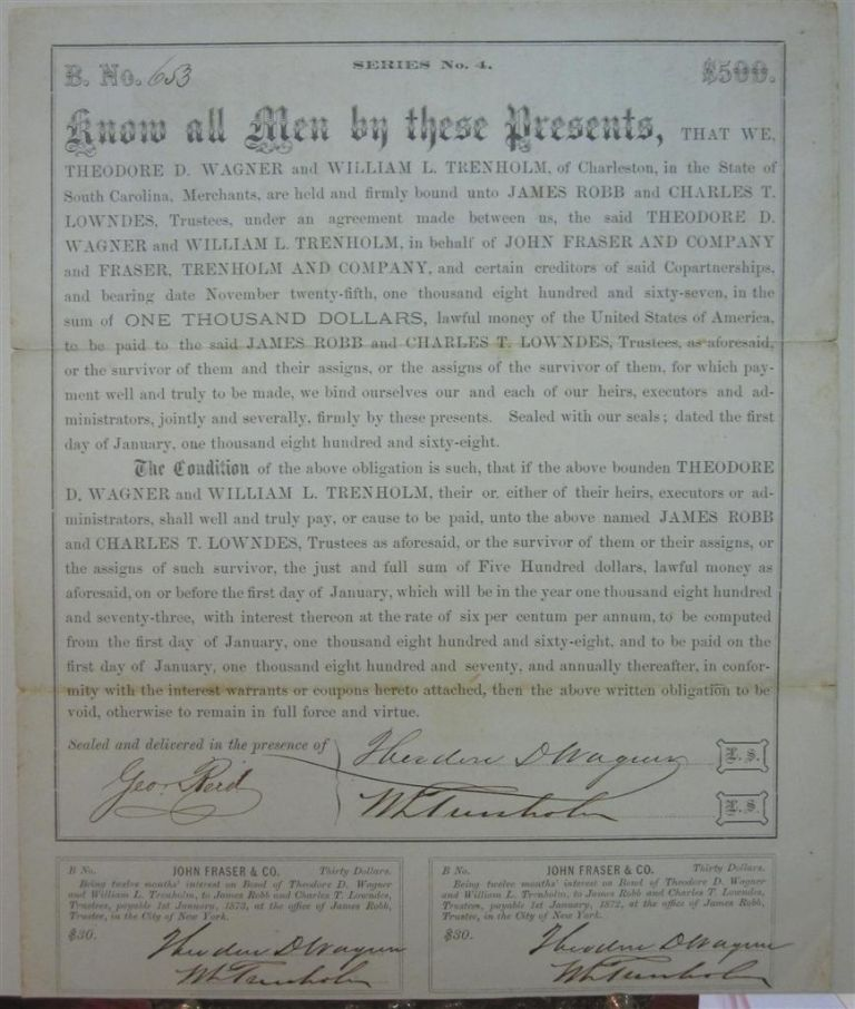 Document Signed by the Secretary of the Confederacy. George A. TRENHOLM.