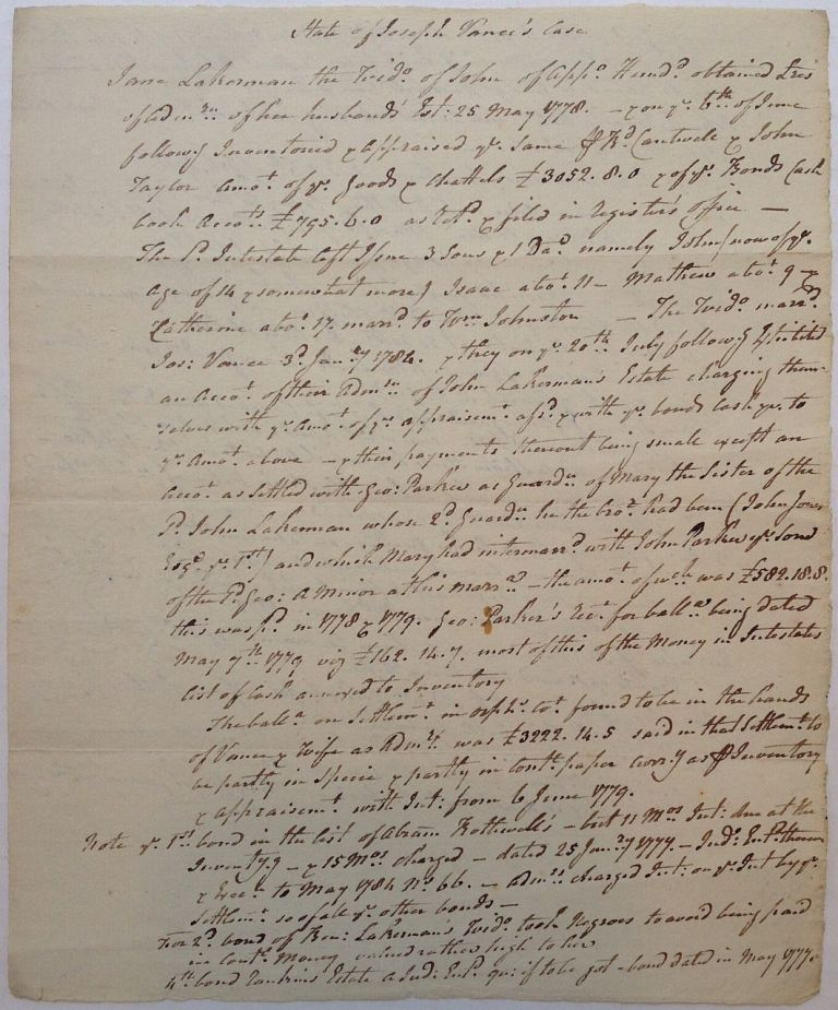 Lengthy Unsigned Manuscript by the Signer. George READ, 1733 - 1798.