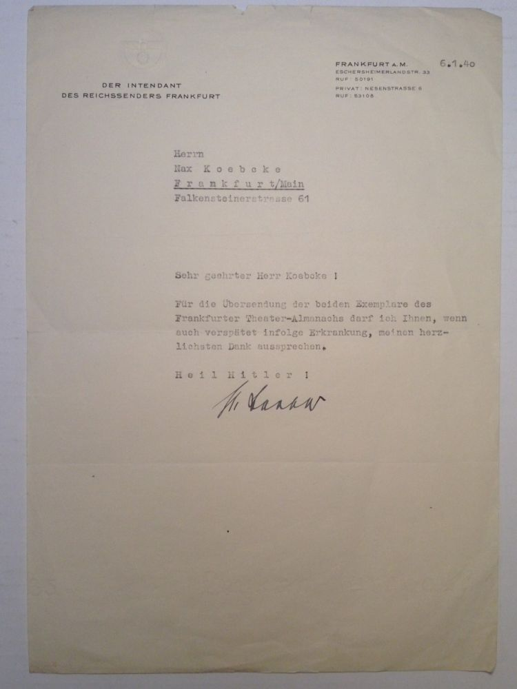 Scarce Typed Letter Signed. Adolph RASKIN, 1900 - 1940.