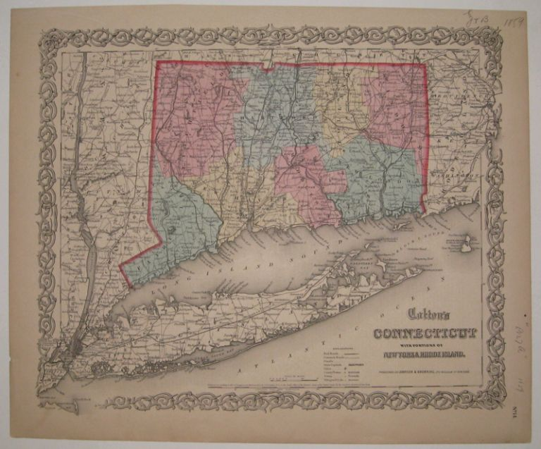 Colton's Connecticut with Portions of New York & Rhode Island. J. H. COLTON.