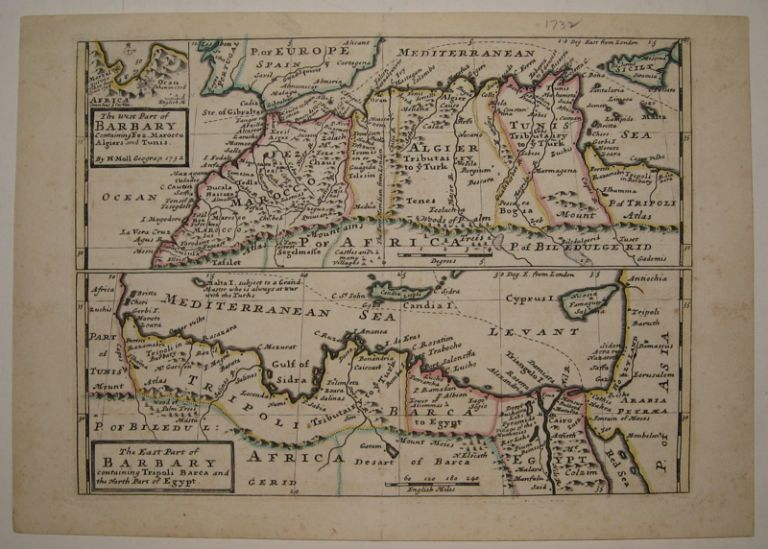 The West Part of Barbary Containing Fez, Marocco Algiers and Tunis and The East Part of Barbary containing Tripoli Barca and the North Part of Egypt. Hermann MOLL.