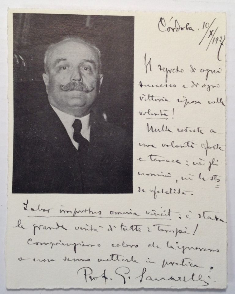 Autographed Note Signed to a Colleague. Giuseppe SANARELLI, 1864 - 1940.
