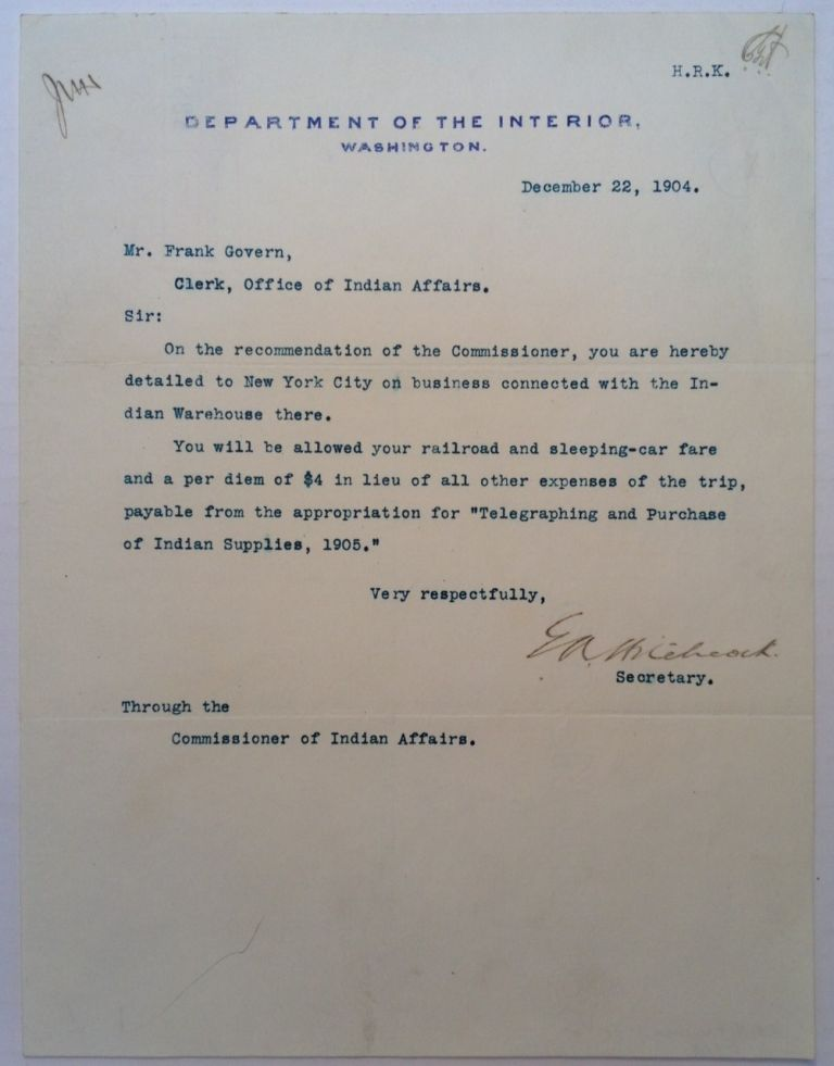 """Typed Letter Signed on """"Department of the Interior"""" letterhead. Ethan Allen HITCHCOCK, 1835 - 1909."""