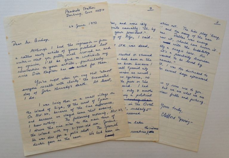 Lengthy Autographed Letter Signed recalling the JFK Assassination. Clifford IRVING, 1930 -.