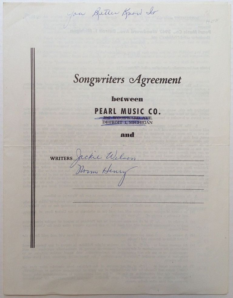Signed Songwriter-Publishing Contract. Jackie WILSON, 1934 - 1984.