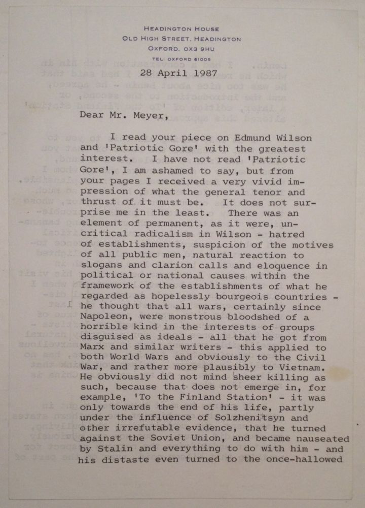 Extraordinary Typed Letter Signed about Edmond Wilson. Isaiah BERLIN, 1909 - 1997.