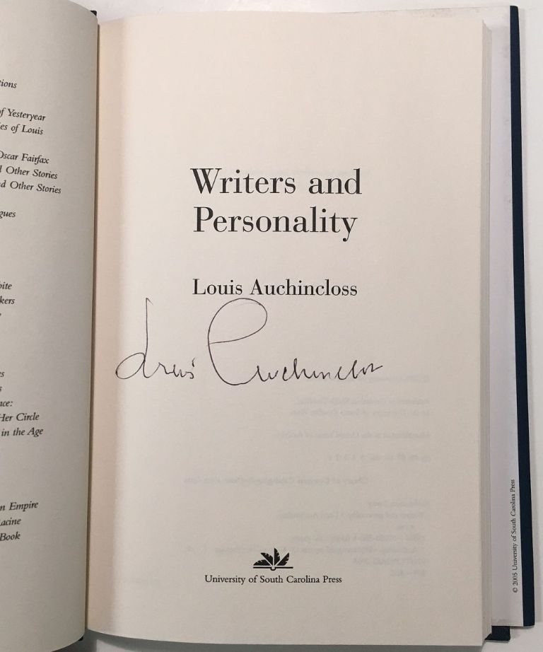 Writers and Personality. Louis AUCHINCLOSS.