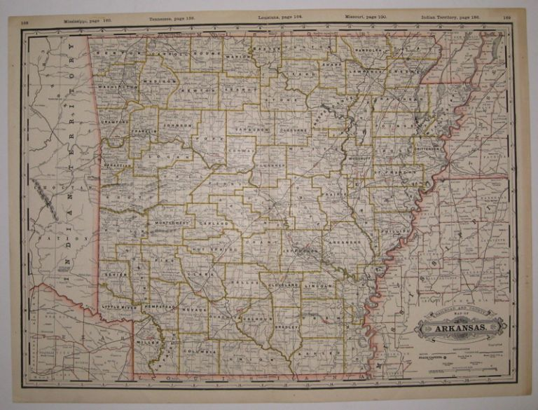 Railroad and County Map of Arkansas. George CRAM.