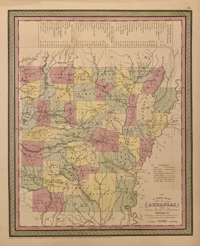 A New Map of Arkansas with its Canals Roads & Distances. COWPERTHWAIT THOMAS, Co.