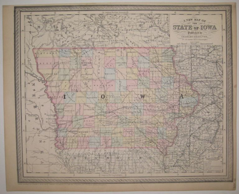 A New Map of the State of Iowa. Charles DESILVER.