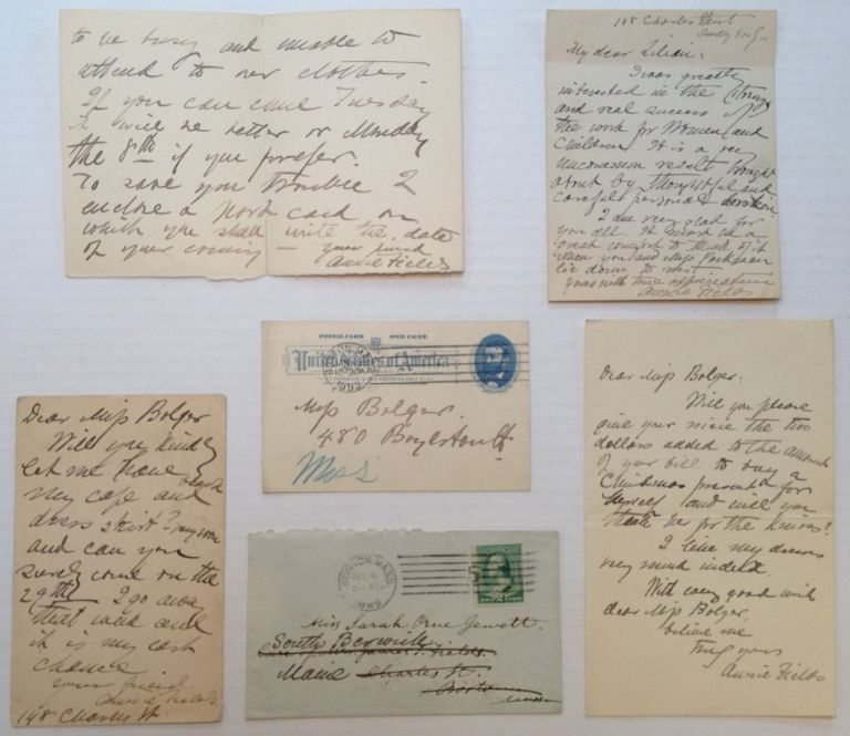 Archive of Five Autographed Letters Signed. Annie Adams FIELDS, 1834 - 1915.