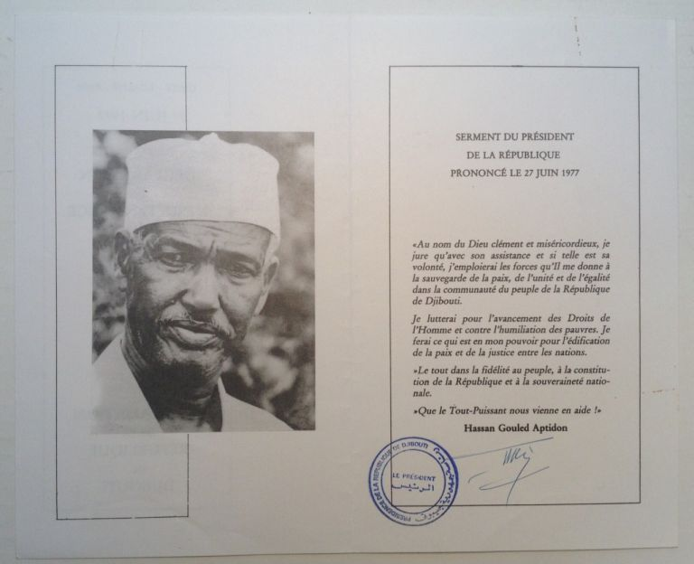 Signed Card from the Inaugural Party. Hassan Gouled APTIDON, 1916 - 2006.