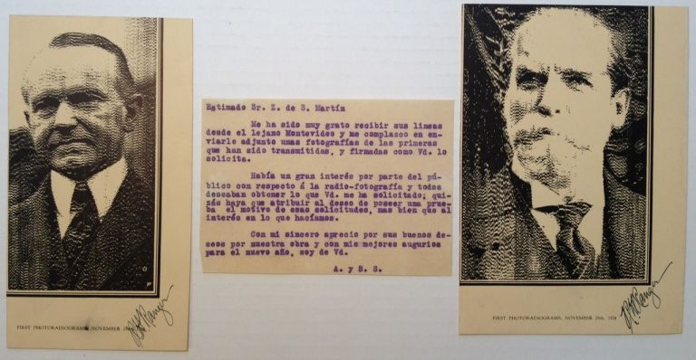 Signed Reproduction of the First Fax Sent by Ranger of President Coolidge. Richard H. RANGER, 1889 - 1962.