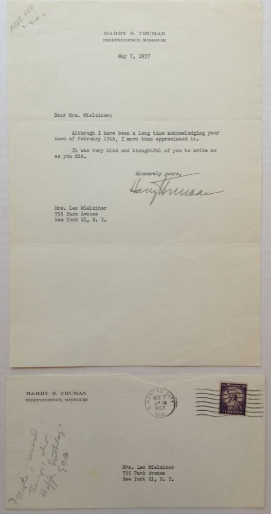Friendly Typed Letter Signed. Harry S. TRUMAN, 1884 - 1972.