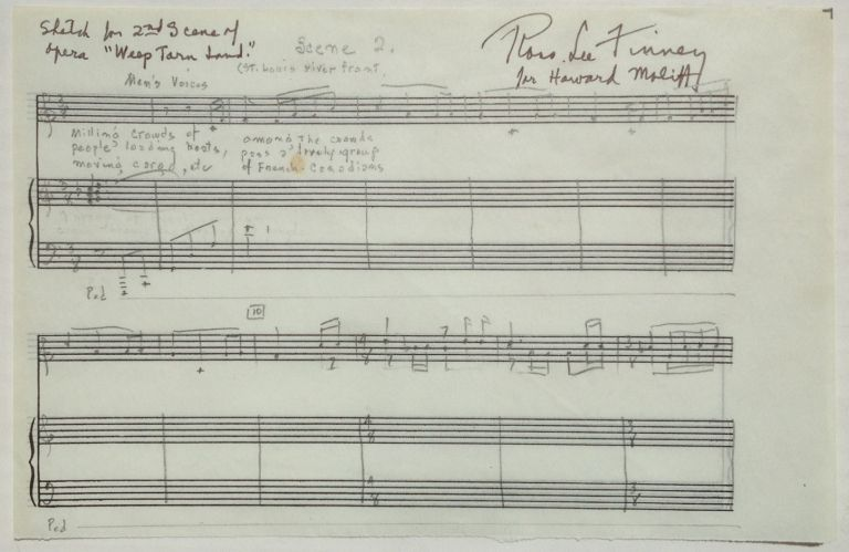 Autographed Musical Quotation. Ross Lee FINNEY, 1906 - 1997.