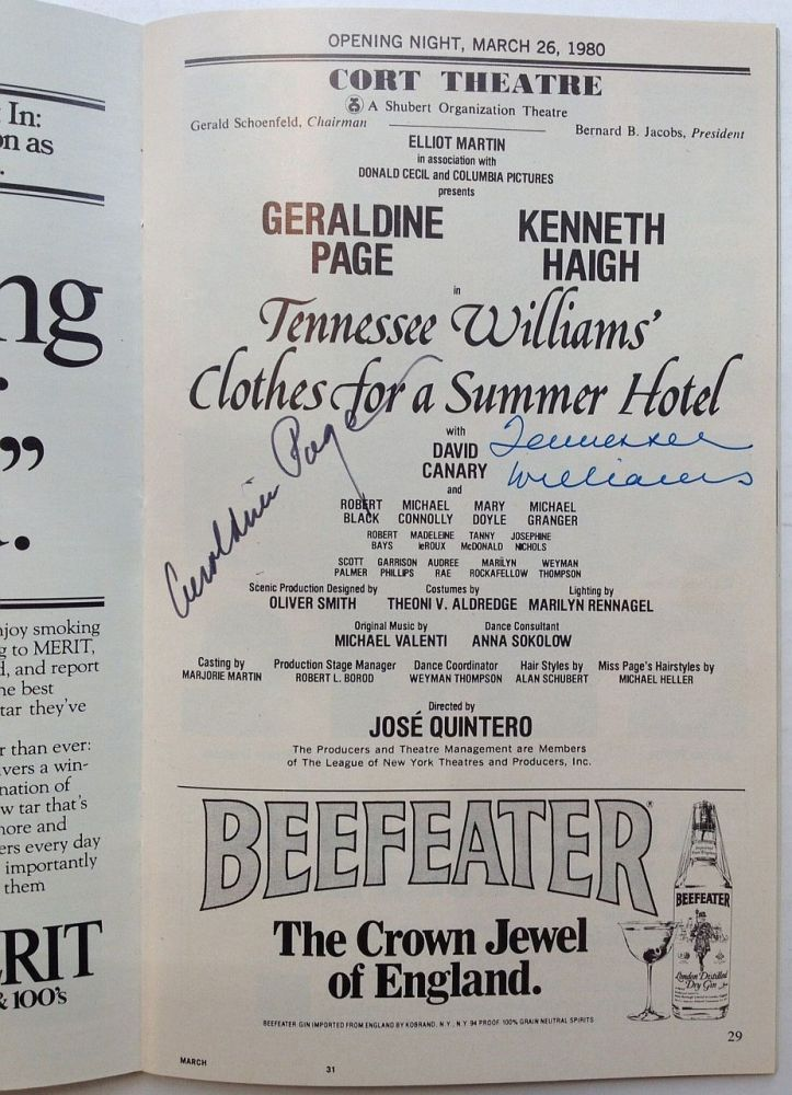 "Signed Playbill from the premier performance of ""Clothes for a Summer Hotel"" Tennessee WILLIAMS, 1911 - 1983."