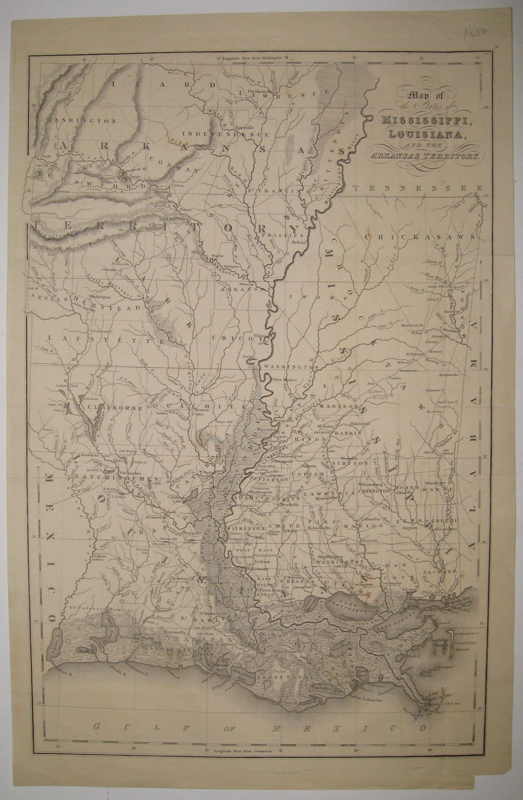 Map of the States of Mississippi, Louisiana and the Arkansas Territory. I. T. HINTON.