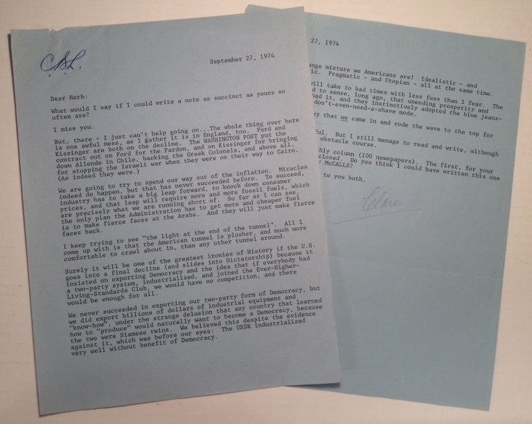 Typed Letter Signed discussing politics with an editor. Clare Boothe LUCE, 1903 - 1987.