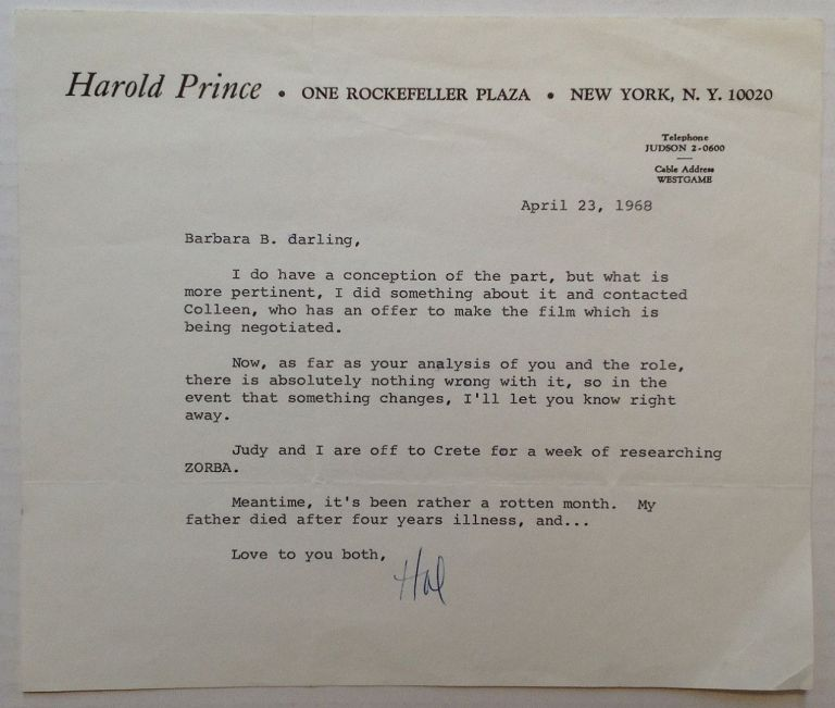 "Typed Letter Signed ""Hal"" on personal letterhead. Harold PRINCE, 1928 -."