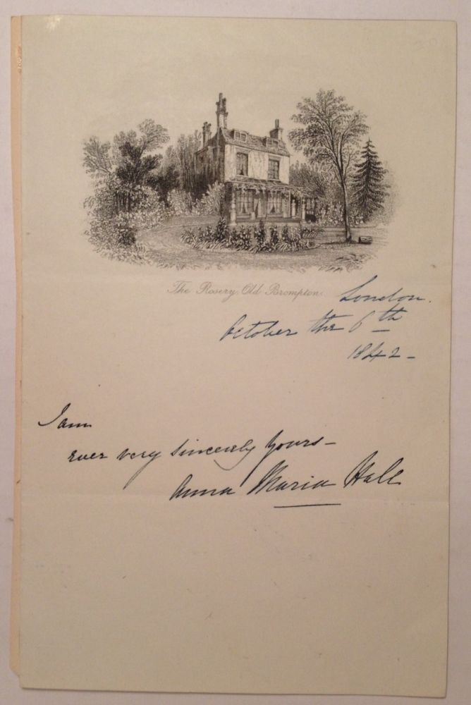 Autographed Note Signed. Anna Maria HALL, 1800 - 1881.