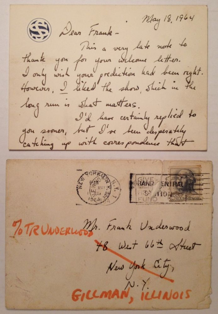 Important and Friendly Autographed Letter Signed. Stephen SONDEHEIM, 1930 -.