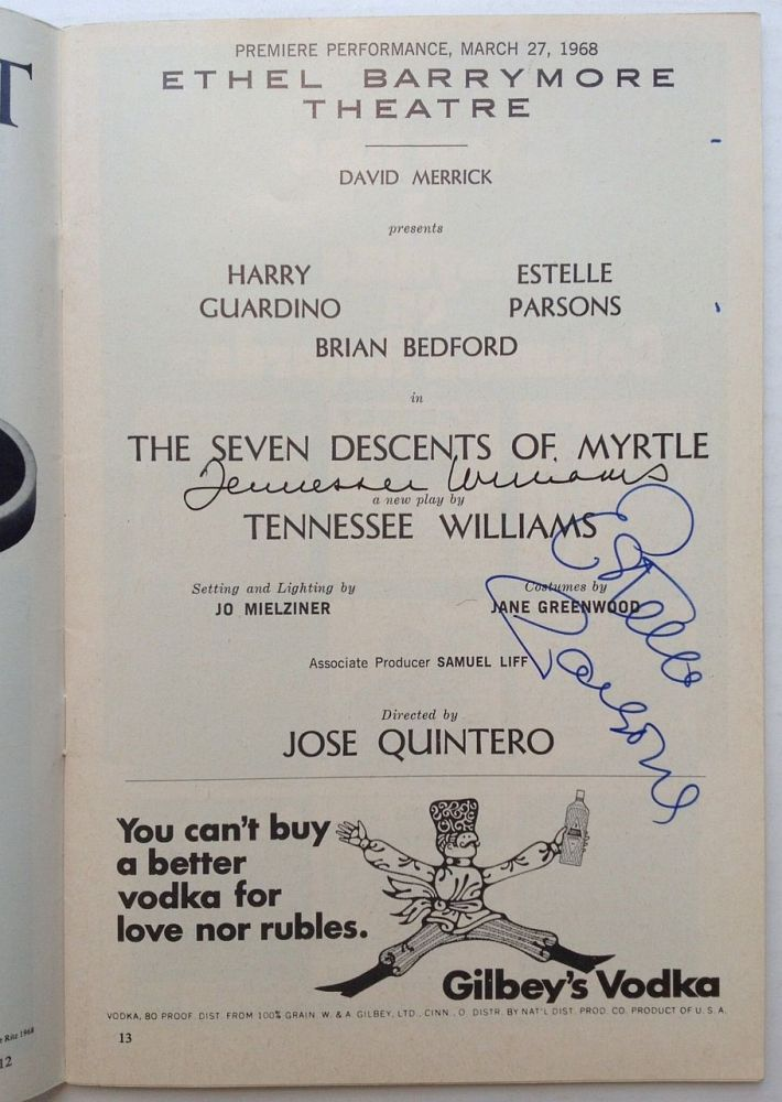"Signed Playbill -- ""The Seven Descents of Myrtle"" Tennessee WILLIAMS, 1911 - 1983."
