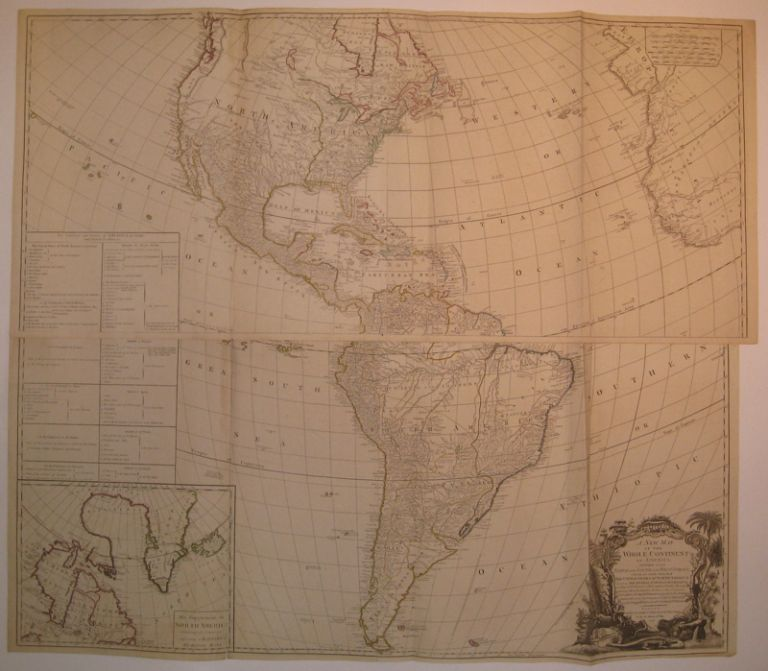A New Map of the Whole Continent of America, Divided into North and South and West Indies, wherein are exactly the Described the United States of North America as well as the Several European Possessions according to the Preliminaries of Peace signed at Versailles Jan. 20, 1783. Jean Baptiste Bourguignon D'ANVILLE, John, GIBSON, George POWNALL.