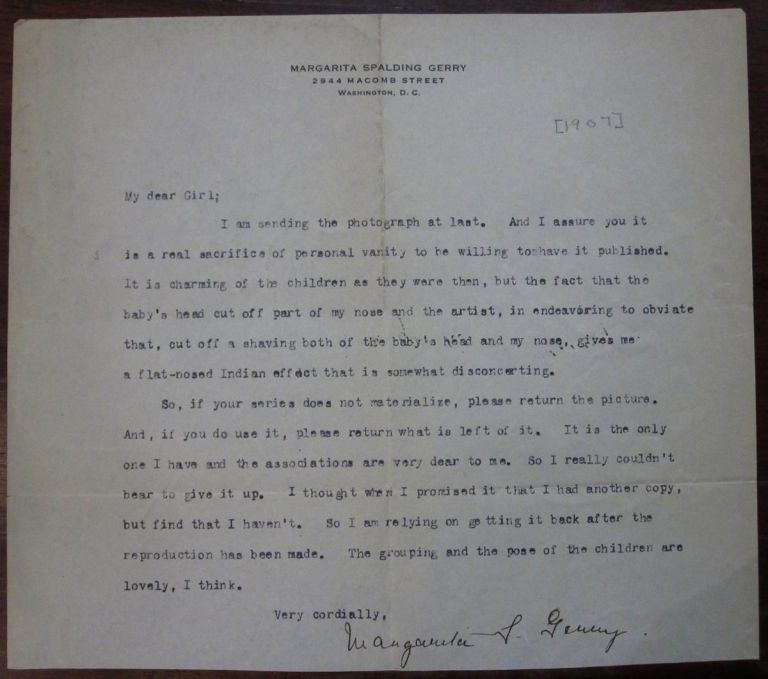 Hand-Edited Story and Two Typed Letters Signed. Margarita Spalding GERRY, 1870 - 1939.