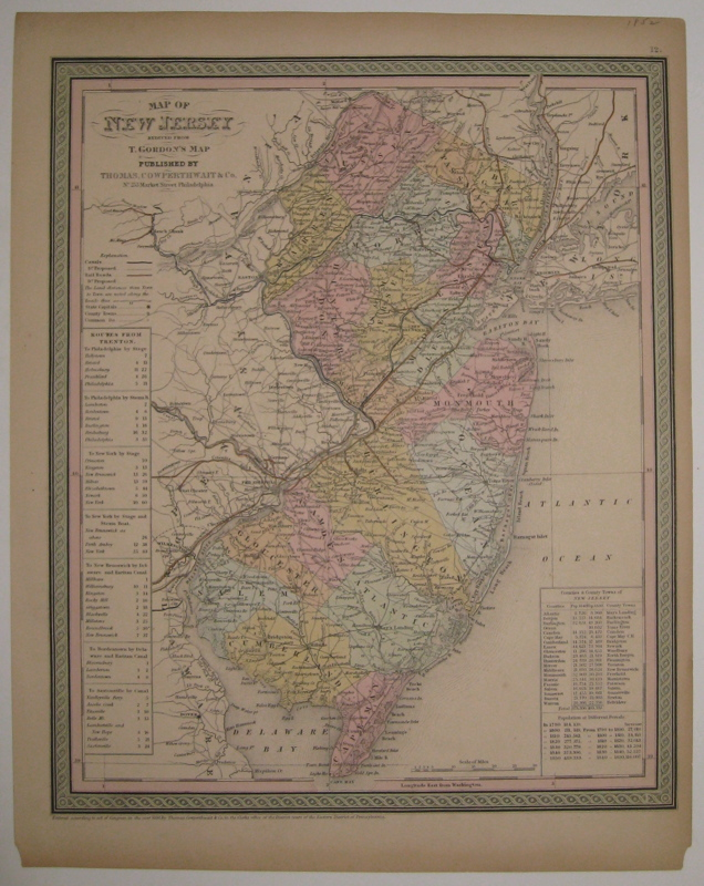 Map of New Jersey reduced from T. Gordon's Map. COWPERTHWAIT THOMAS, CO.