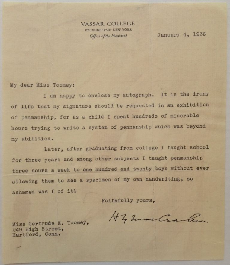 Amusing Typed Letter Signed about Penmanship. Henry Noble MACCRACKEN, 1880 - 1970.