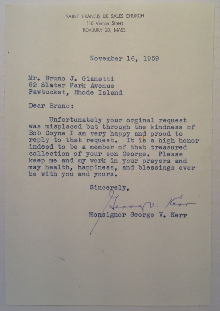 Typed Letter Signed by a Football Player. George V. KERR, 1919 - 1983.