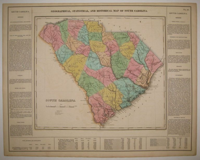 Geographical, Statistical, and Historical Map of South Carolina. CAREY, LEA.