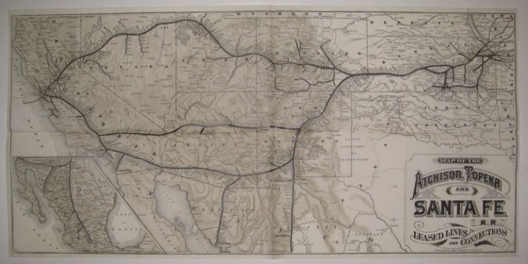 Map of the Atchison, Topeka and Santa Fe R.R. Leased Lines and Connections. POOLE BROTHERS.