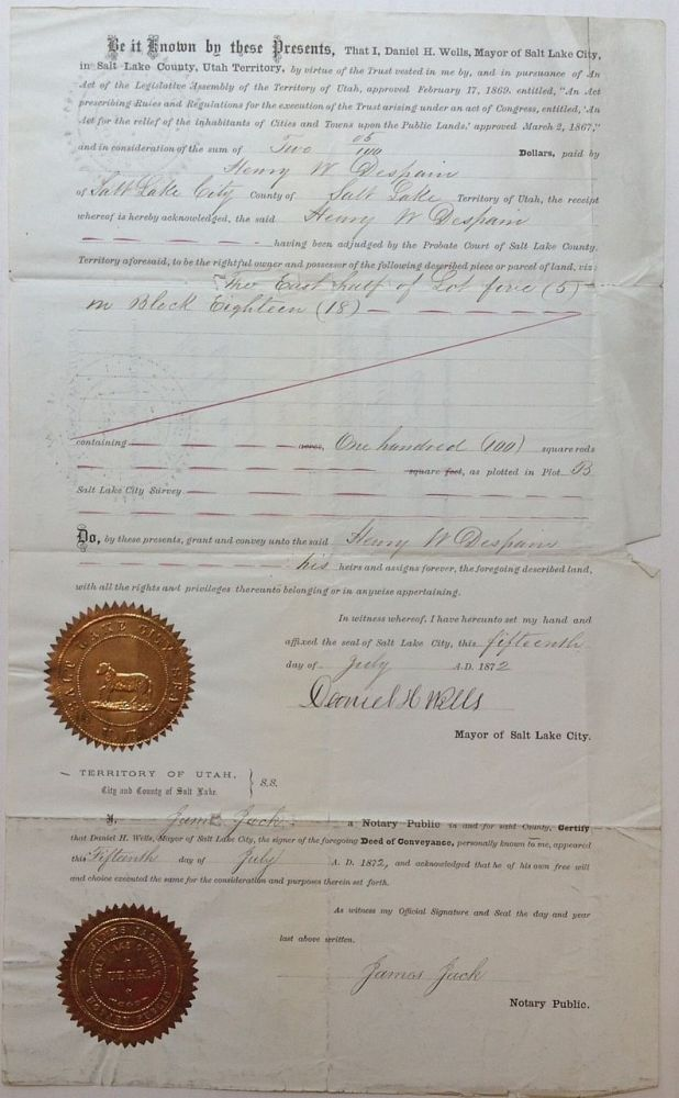 Partly Printed Document Signed. MORMON CHURCH.