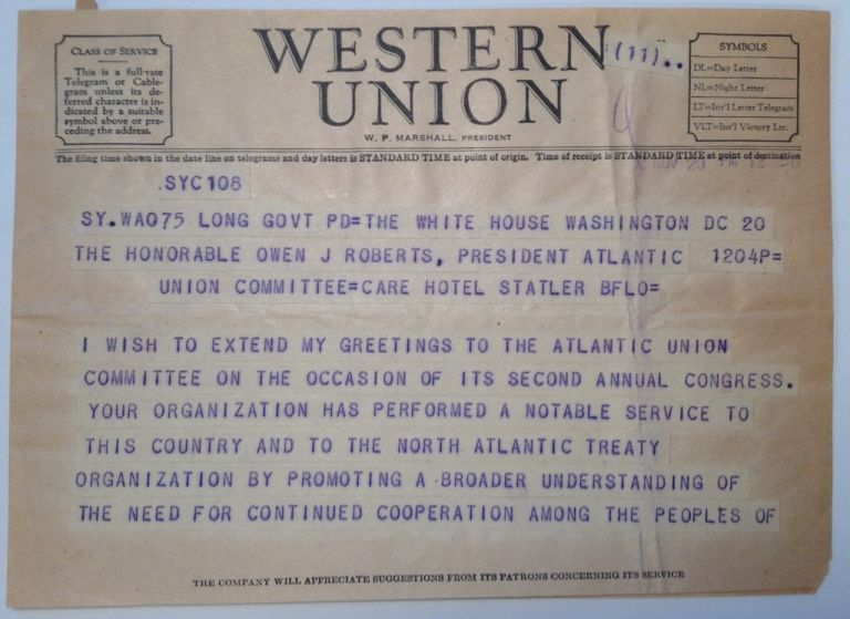 Presidential Telegram. Harry S. TRUMAN, 1884 - 1972.