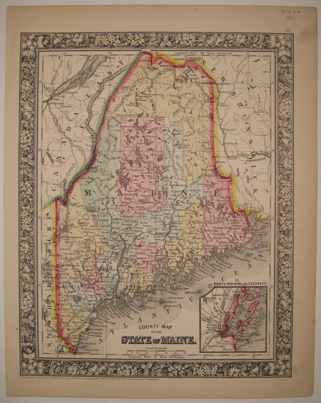 County Map of the State of Maine. Samuel Augustus Jr MITCHELL.