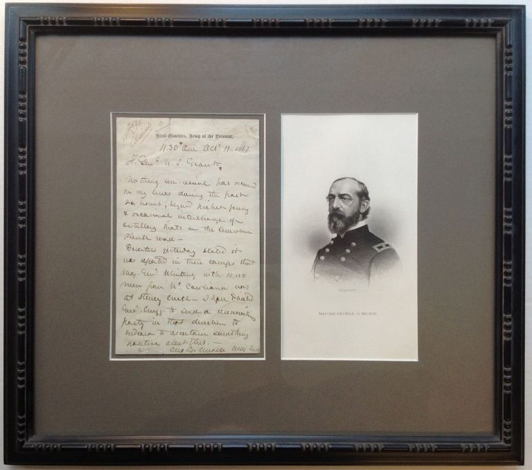 Historically Important Framed Autographed Letter Signed to General Grant. George Gordon MEADE, 1815 - 1872.