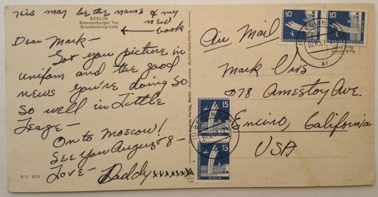 """Autographed Postcard signed """"Daddy"""" to his son. Leon URIS, 1924 - 2003."""