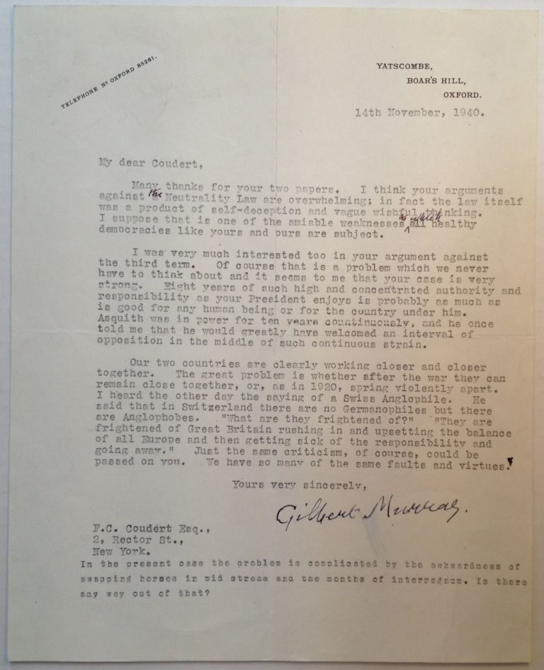 Extraordinary Content Typed Letter Signed. Gilbert MURRAY, 1866 - 1957.