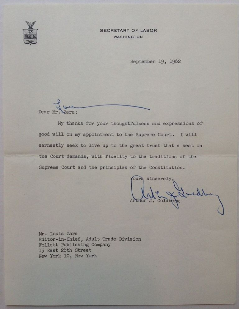 Typed Letter Signed in Response to his Supreme Court Appointment. Arthur J. GOLDBERG, 1908 - 1990.