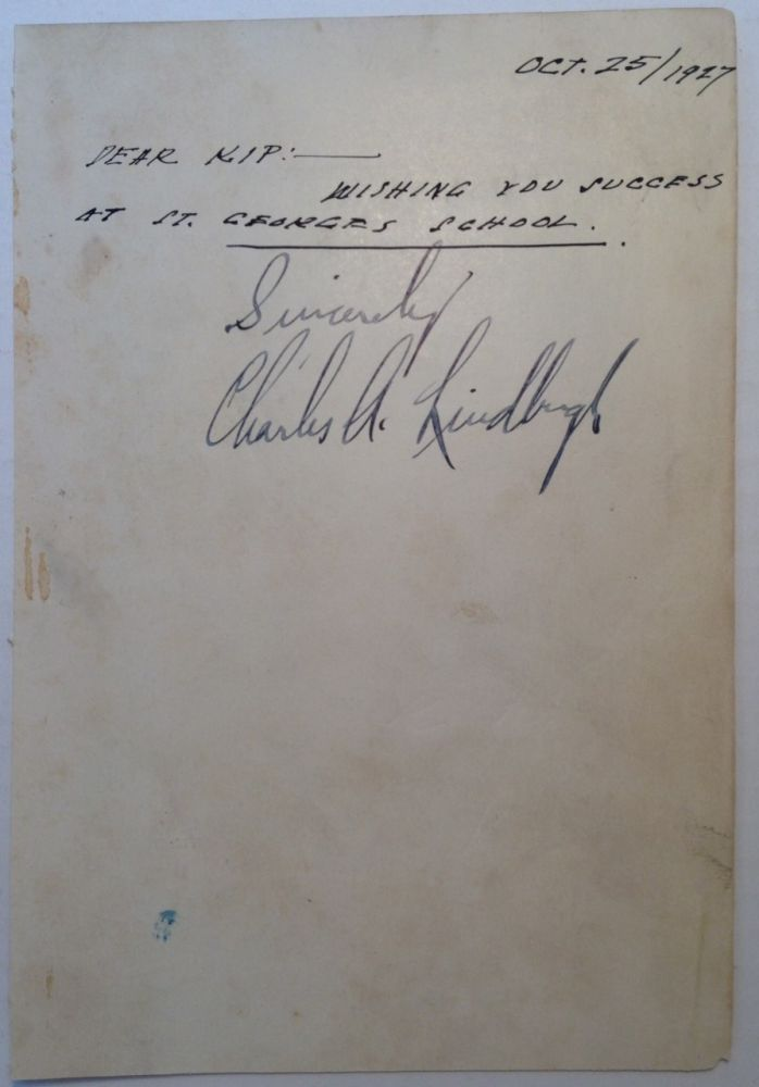 Signature on a page from his book. Charles A. LINDBERGH, 1902 - 1974.