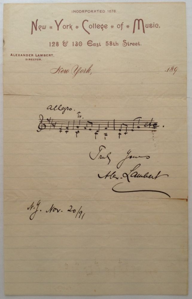 Autographed Musical Quotation Signed on his Professional Letterhead. Alexander LAMBERT, 1862 - 1929.