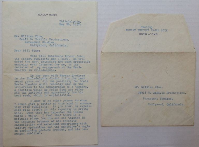 Typed Letter Signed to film pioneer William Pine. Sally RAND, 1904 - 1979.