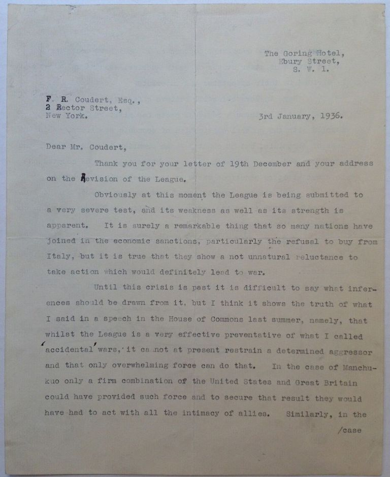 Powerful and Historically Important Typed Letter Signed. Austen CHAMBERLAIN, 1863 - 1937.