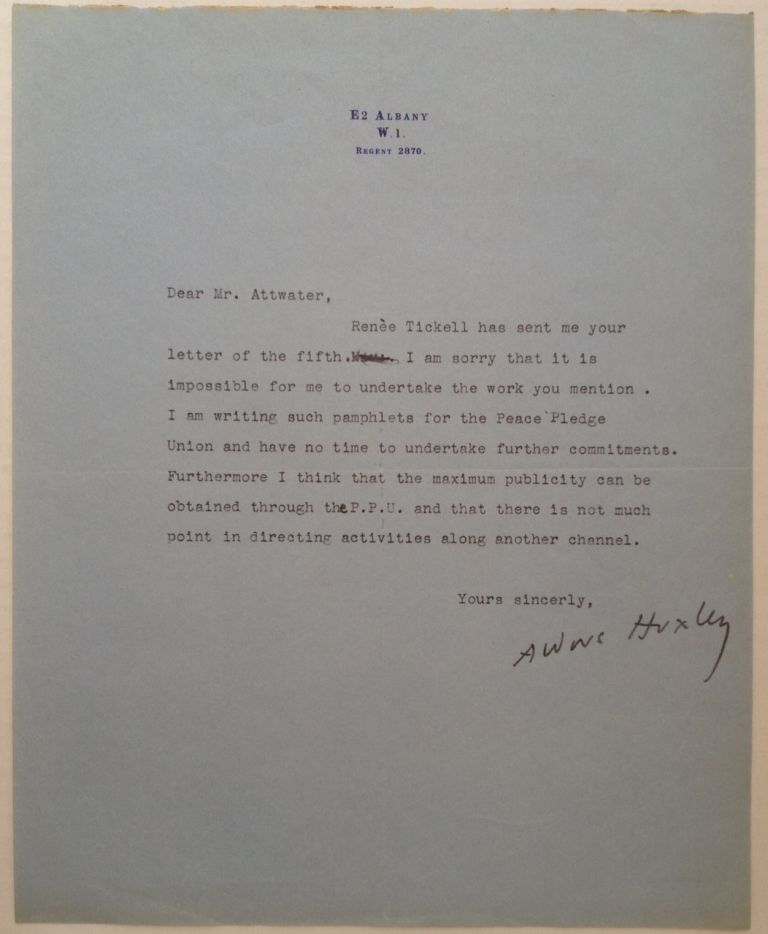 Typed Letter Signed. Aldous HUXLEY, 1894 - 1963.