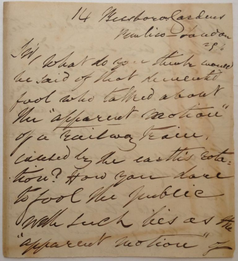 Rare, Important and Angry Autographed Letter Signed by a Flat-Earther. John HAMPDEN, 1819 - 1891.
