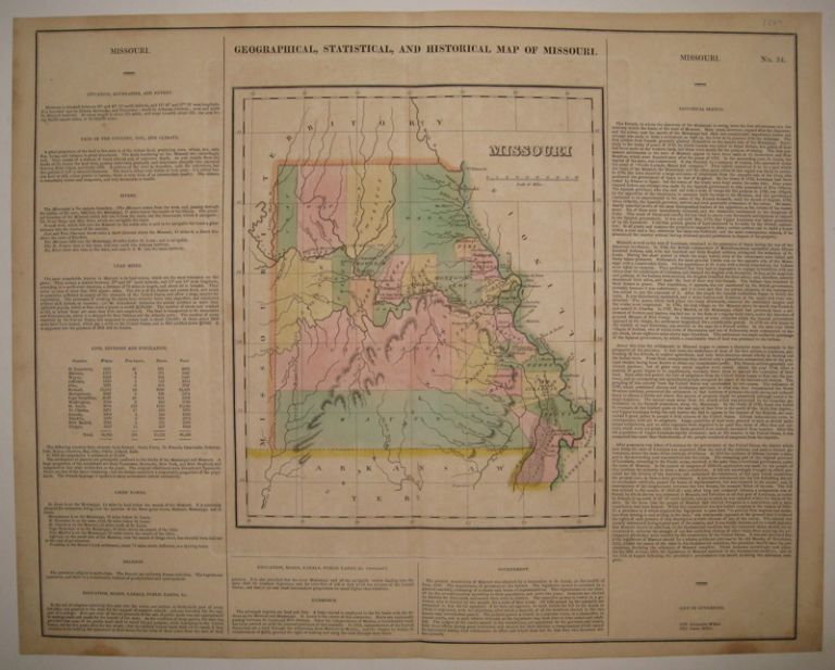 Geographical, Statistical, and Historical Map of Missouri. CAREY, LEA.