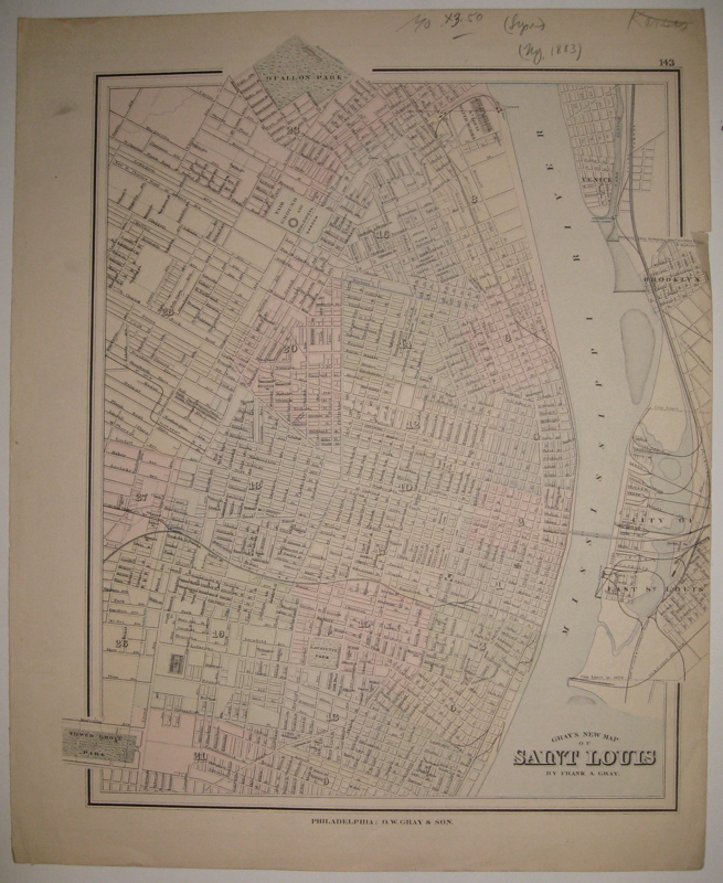 Gray's New Map of Saint Louis. Frank A. GRAY.