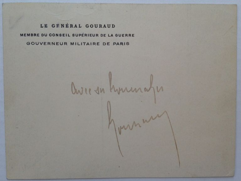 Signed Card. Henri GOURAUD, 1867 - 1946.